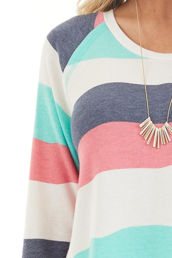 Ivory Multicolor Wavy Striped 3/4 Sleeve Knit Top detail