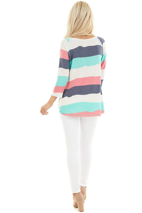 Ivory Multicolor Wavy Striped 3/4 Sleeve Knit Top back full body