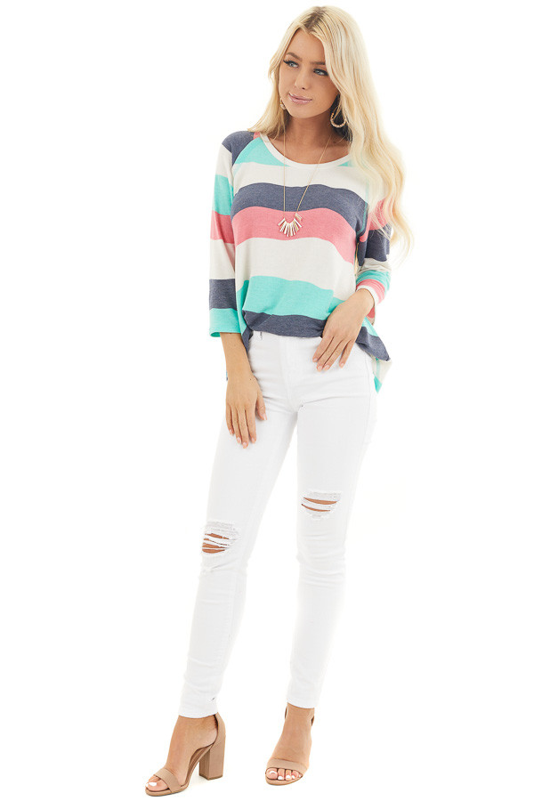 Ivory Multicolor Wavy Striped 3/4 Sleeve Knit Top front full body