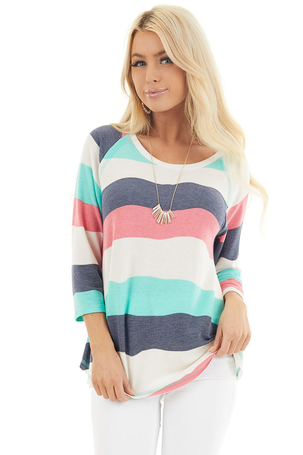 Ivory Multicolor Wavy Striped 3/4 Sleeve Knit Top front close up