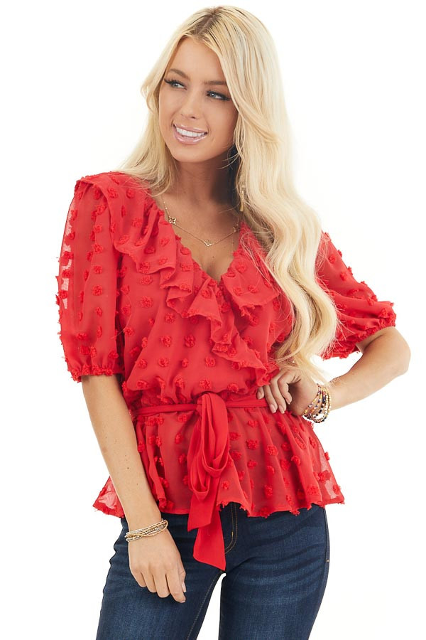 Lipstick Red Swiss Dot Ruffled Surplice Top with Front Tie front close up