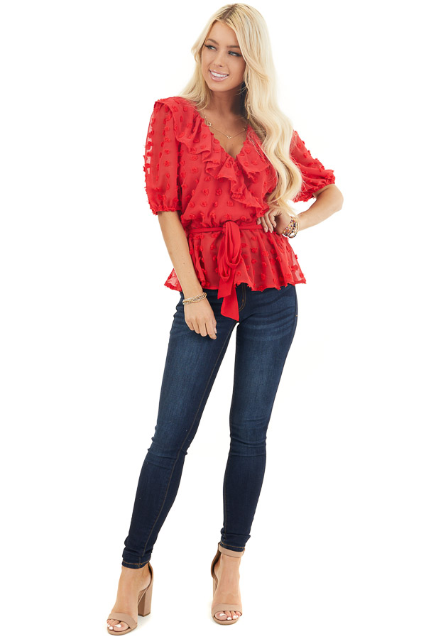 Lipstick Red Swiss Dot Ruffled Surplice Top with Front Tie front full body