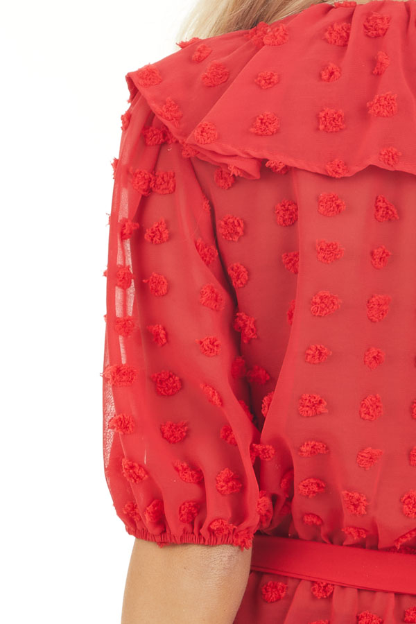 Lipstick Red Swiss Dot Ruffled Surplice Top with Front Tie detail