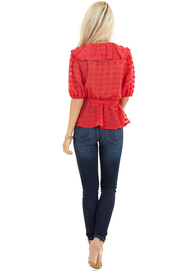 Lipstick Red Swiss Dot Ruffled Surplice Top with Front Tie back full body
