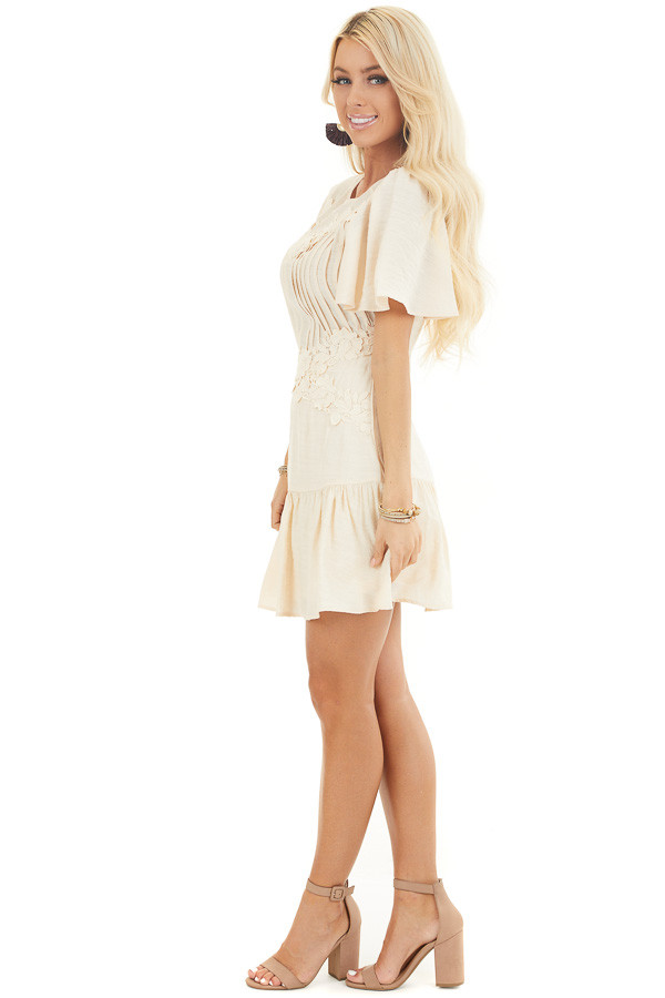 Champagne Mini Dress with Bell Sleeves and Lace Front Detail side full body