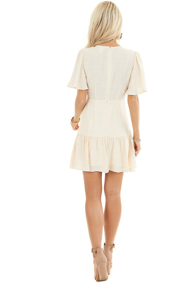 Champagne Mini Dress with Bell Sleeves and Lace Front Detail back full body