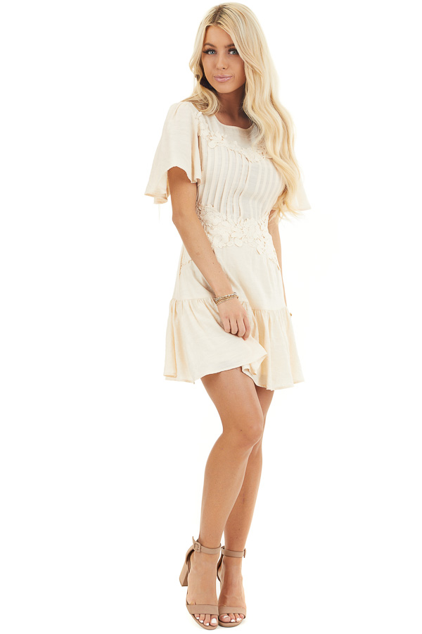 Champagne Mini Dress with Bell Sleeves and Lace Front Detail front full body