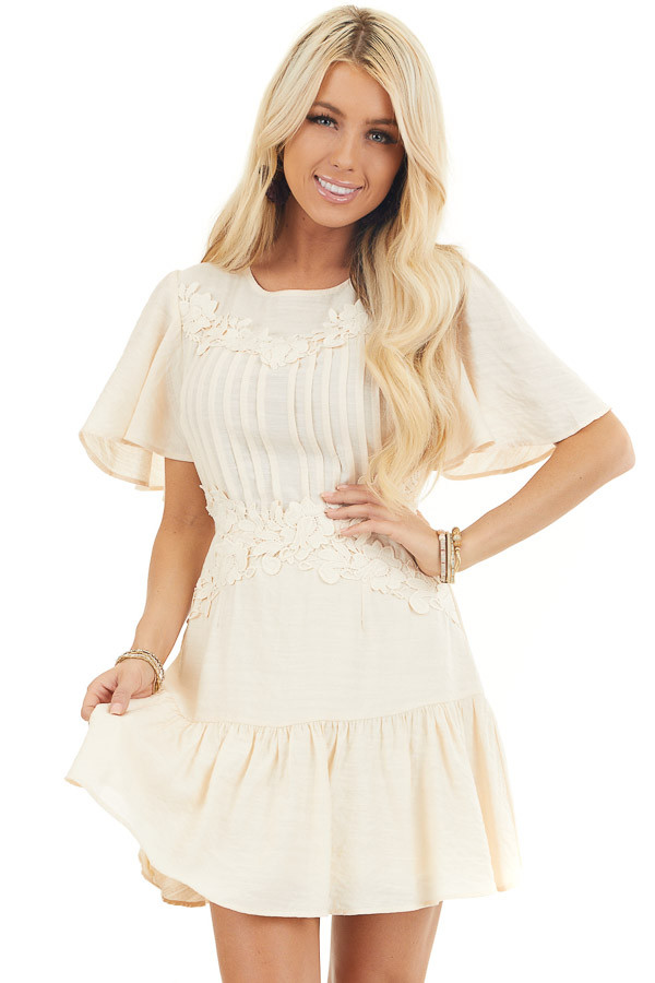 Champagne Mini Dress with Bell Sleeves and Lace Front Detail front close up