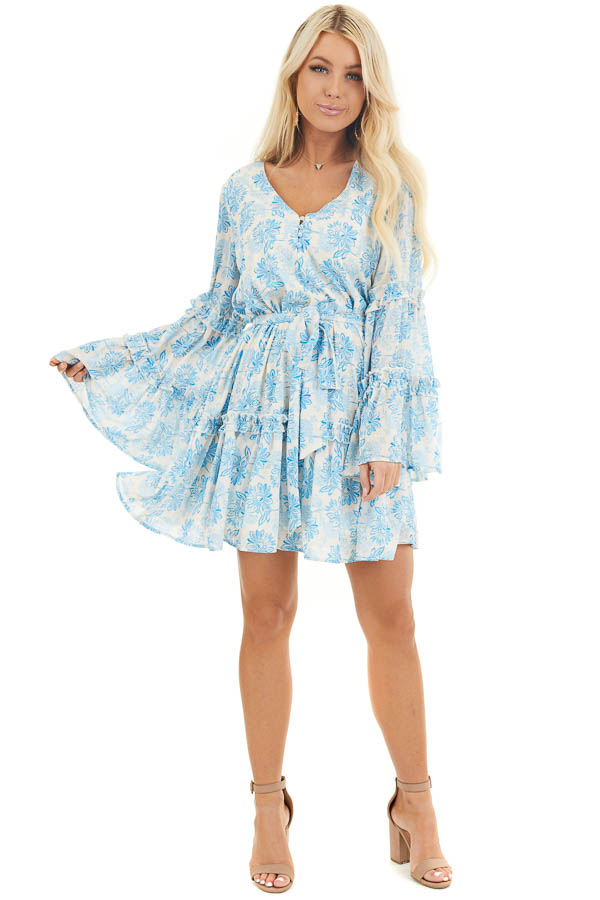 Cream and Sky Blue Floral Print Dress with Ruffle Details front full body