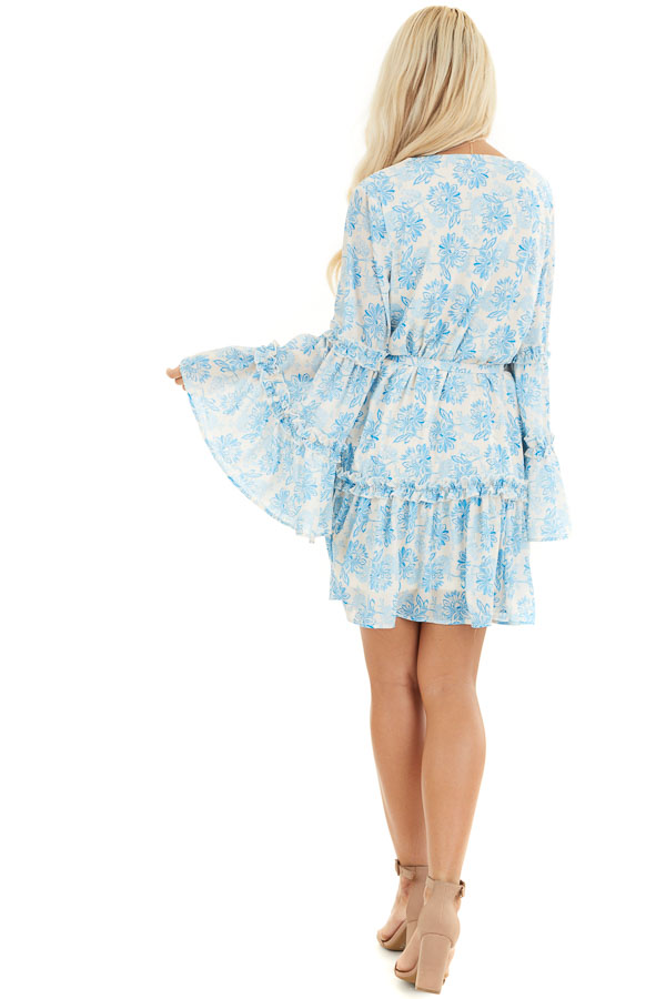 Cream and Sky Blue Floral Print Dress with Ruffle Details back full body
