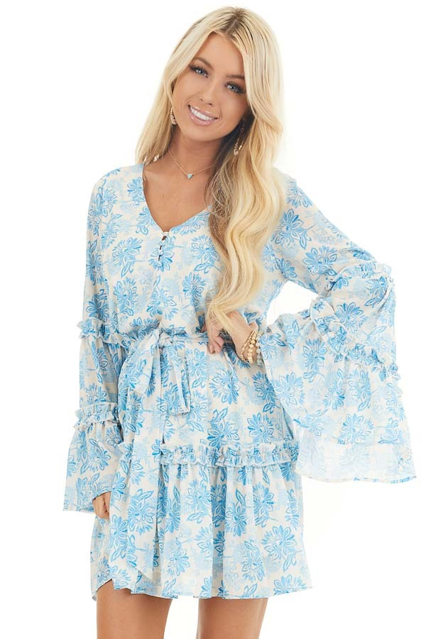 Cream and Sky Blue Floral Print Dress with Ruffle Details front close up