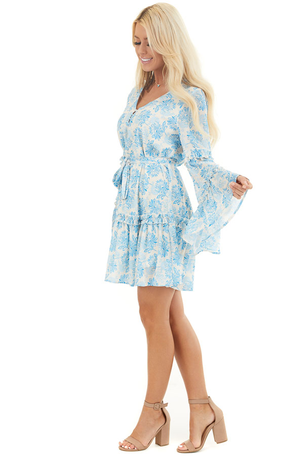 Cream and Sky Blue Floral Print Dress with Ruffle Details side full body