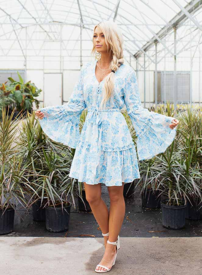 Cream and Sky Blue Floral Print Dress with Ruffle Details