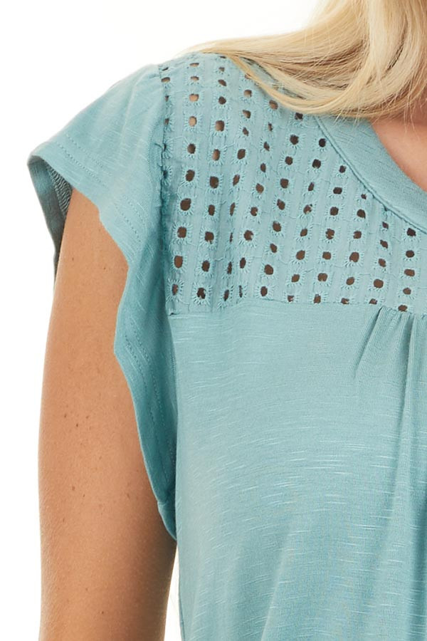 Sage Soft Knit Top with Short Sleeves and Eyelet Detail detail