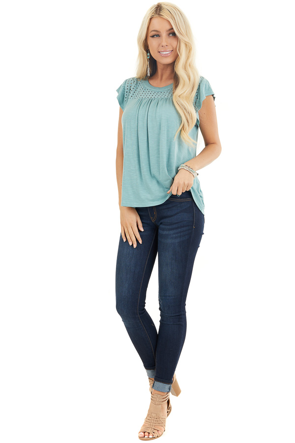 Sage Soft Knit Top with Short Sleeves and Eyelet Detail front full body
