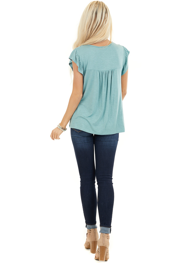 Sage Soft Knit Top with Short Sleeves and Eyelet Detail back full body