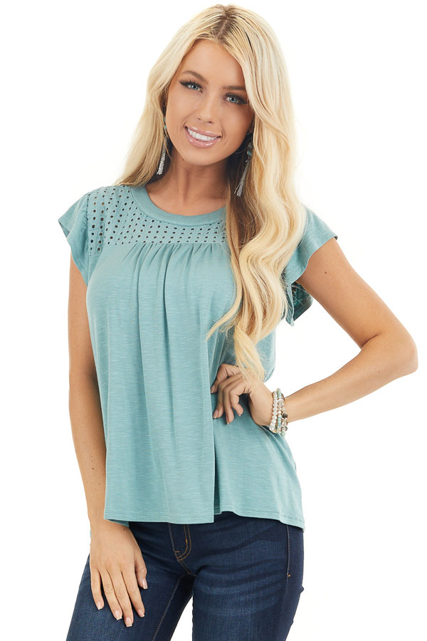 Sage Soft Knit Top with Short Sleeves and Eyelet Detail front close up