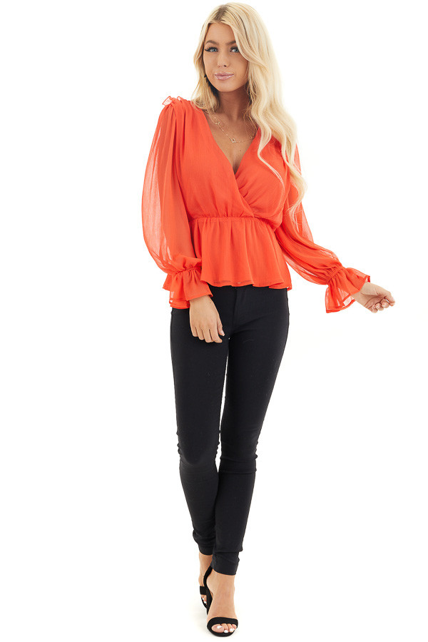 Tomato Red Surplice Peplum Blouse with Long Sleeves front full body