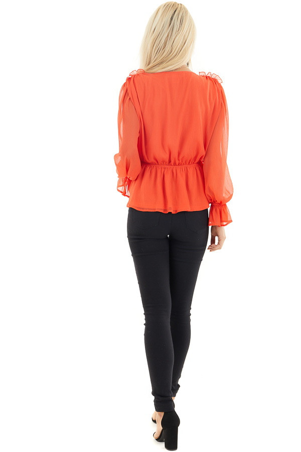 Tomato Red Surplice Peplum Blouse with Long Sleeves back full body