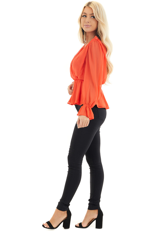 Tomato Red Surplice Peplum Blouse with Long Sleeves side full body