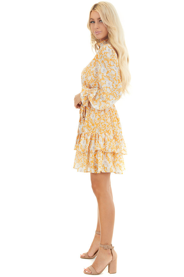 Mango Floral Print Long Sleeve Mini Dress with Mock Neck side full body