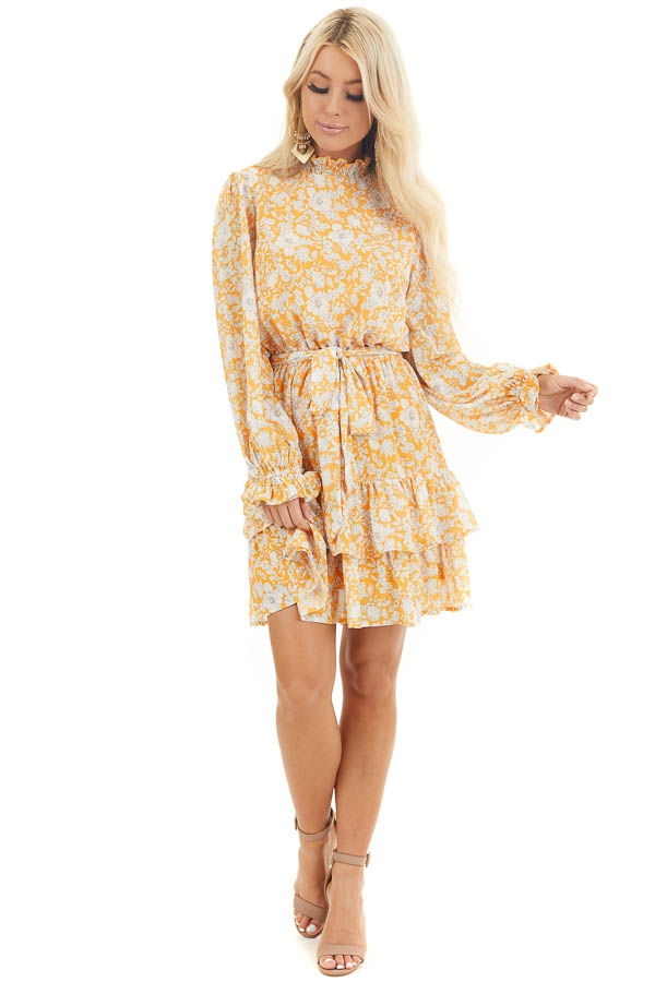 Mango Floral Print Long Sleeve Mini Dress with Mock Neck front full body