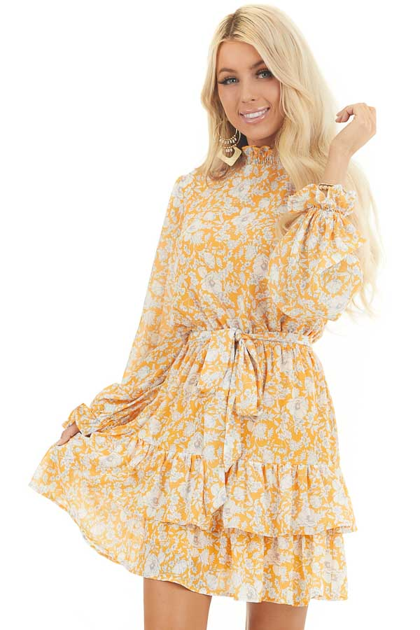 Mango Floral Print Long Sleeve Mini Dress with Mock Neck front close up