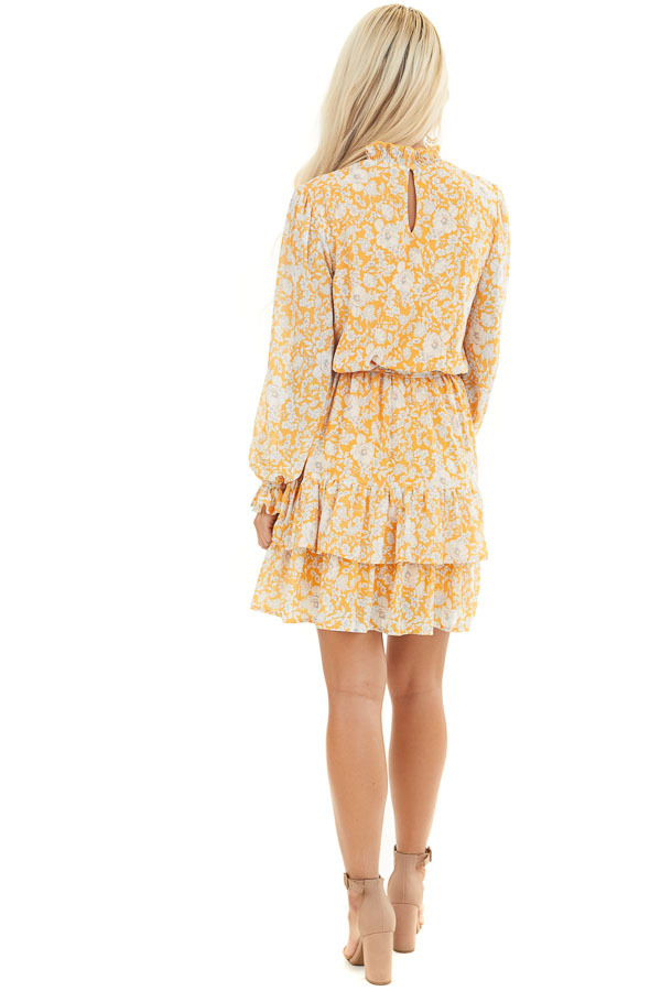 Mango Floral Print Long Sleeve Mini Dress with Mock Neck back full body