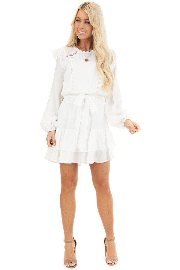 Off White Long Sleeve Mini Dress with Ruffle Lace Detail front full body