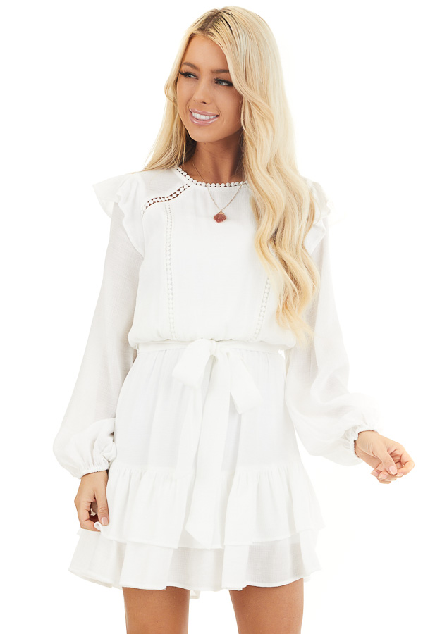 Off White Long Sleeve Mini Dress with Ruffle Lace Detail front close up