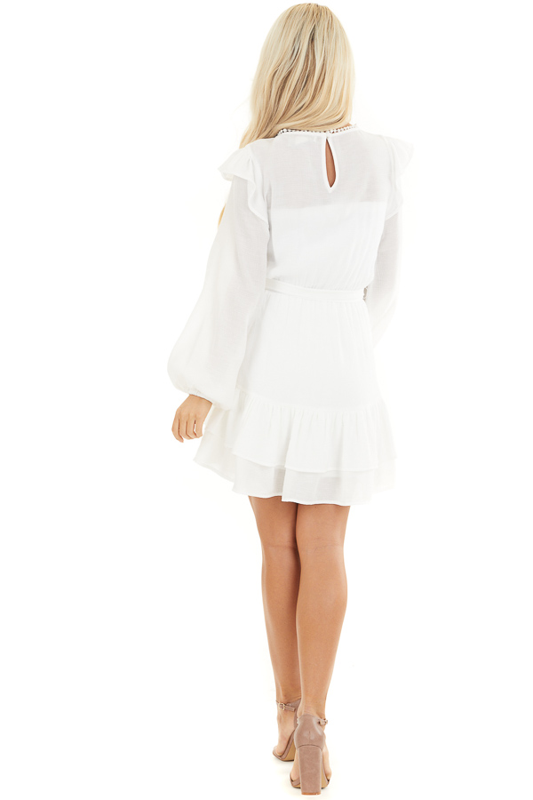 Off White Long Sleeve Mini Dress with Ruffle Lace Detail back full body