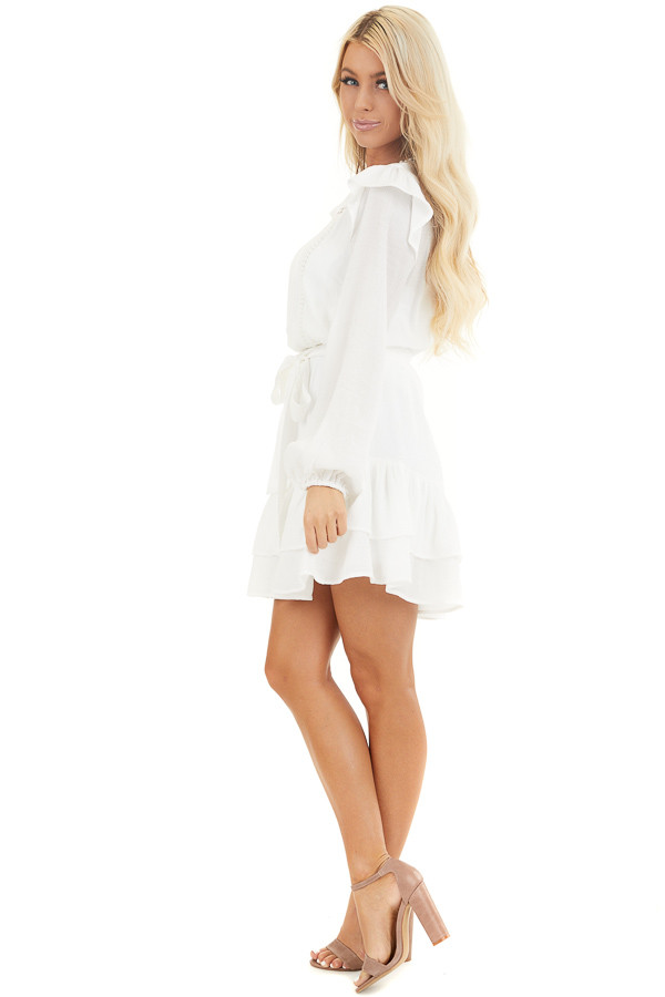 Off White Long Sleeve Mini Dress with Ruffle Lace Detail side full body