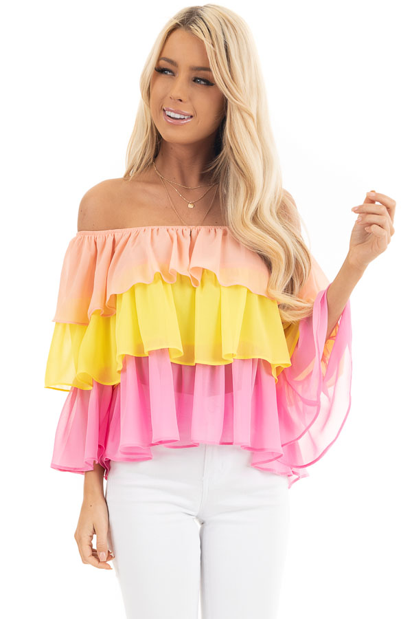 Sunshine Peach and Fuchsia Off Shoulder Layered Ruffle Top front close up