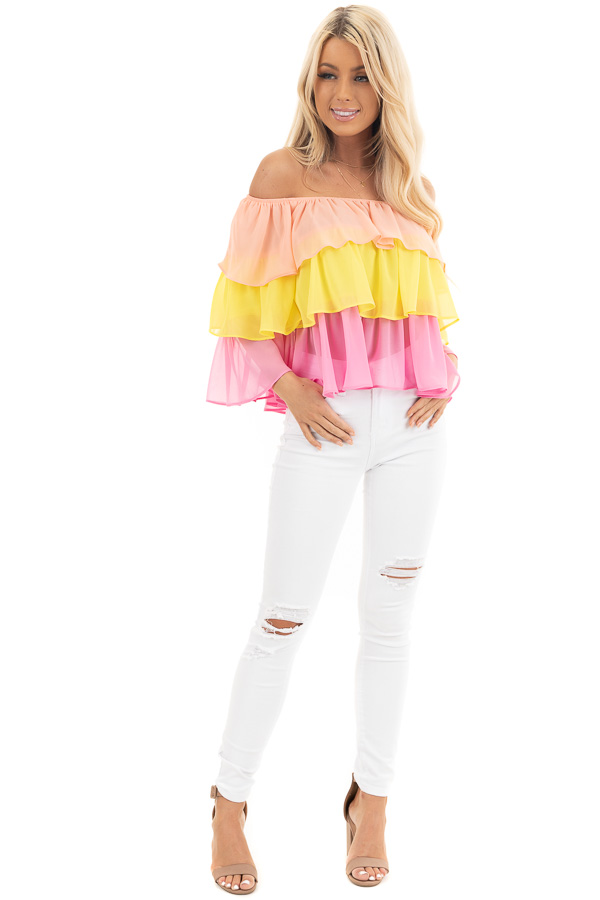 Sunshine Peach and Fuchsia Off Shoulder Layered Ruffle Top front full body