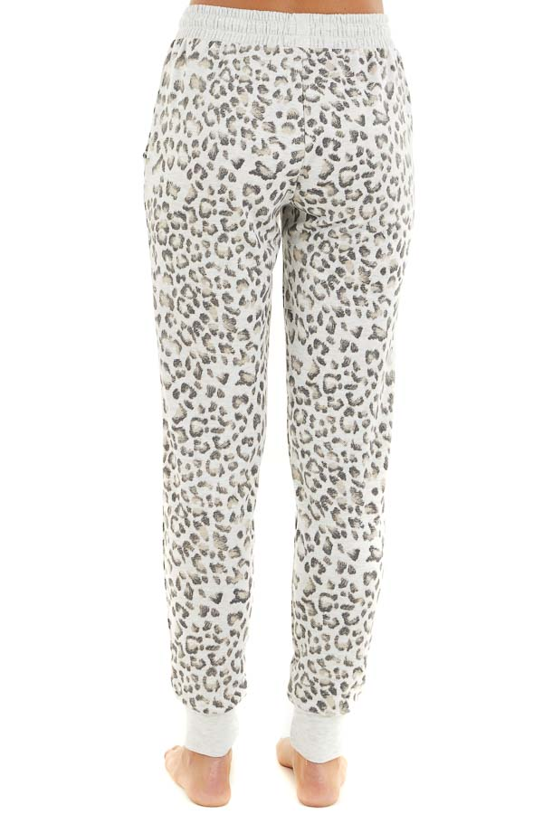 Heather Grey Leopard Print Jogger Pants with Drawstring back view