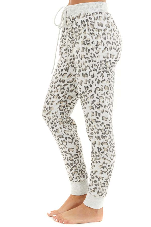 Heather Grey Leopard Print Jogger Pants with Drawstring side view