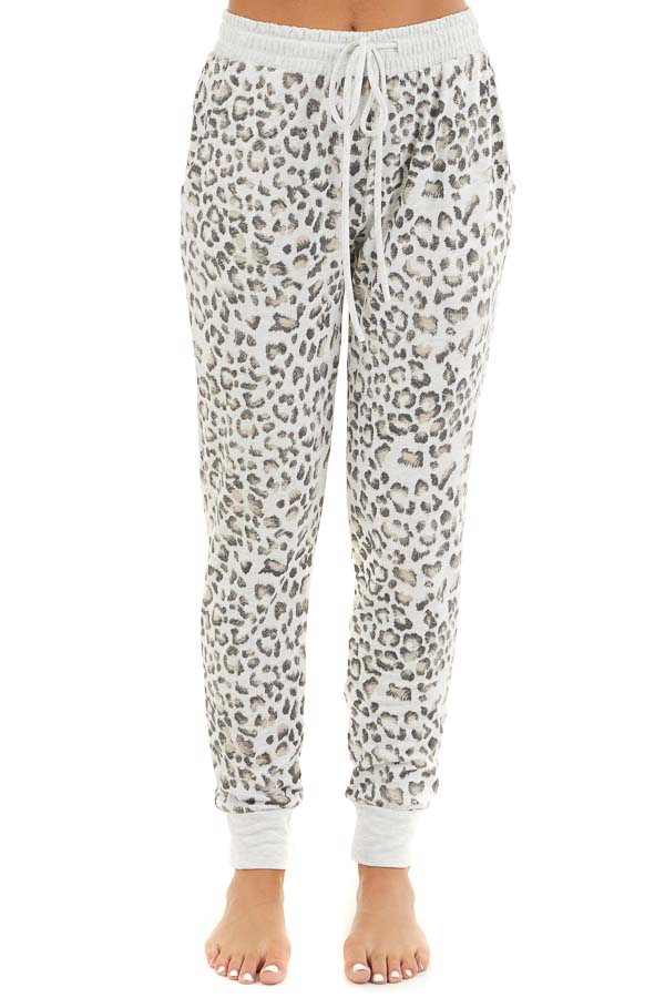 Heather Grey Leopard Print Jogger Pants with Drawstring front view