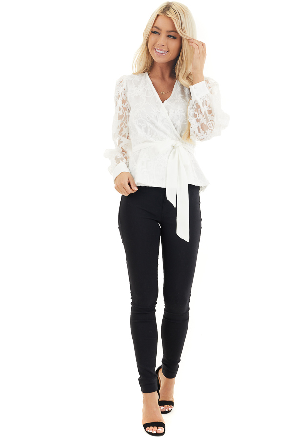 Pearl White Surplice Peplum Blouse with Floral Lace Details front full body