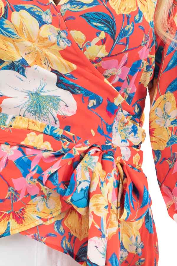 Bright Coral Floral Print Woven Wrap Top with Bubble Sleeves detail