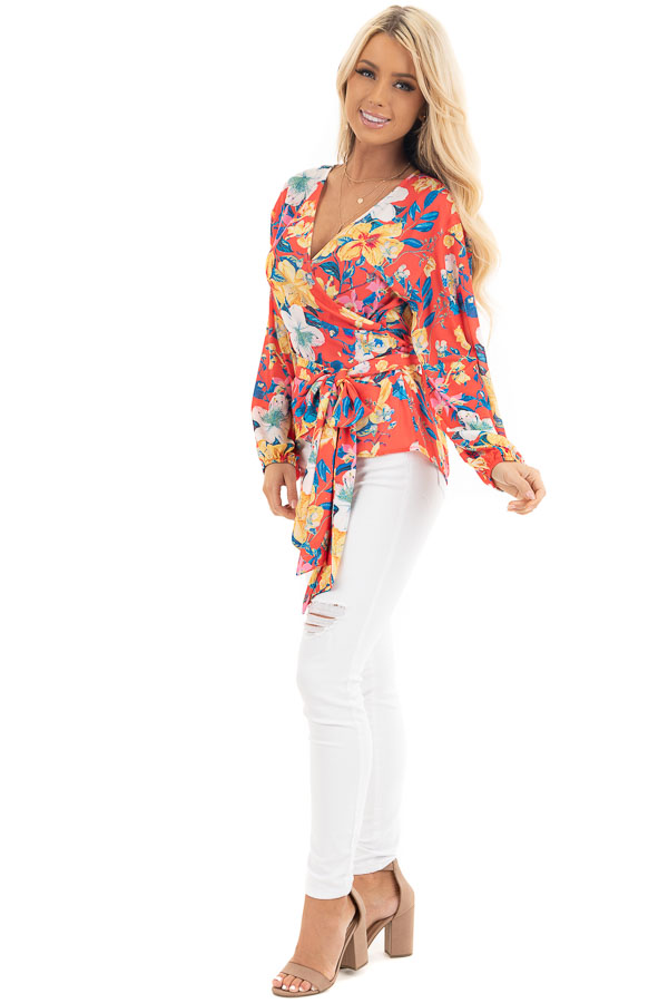 Bright Coral Floral Print Woven Wrap Top with Bubble Sleeves side full body