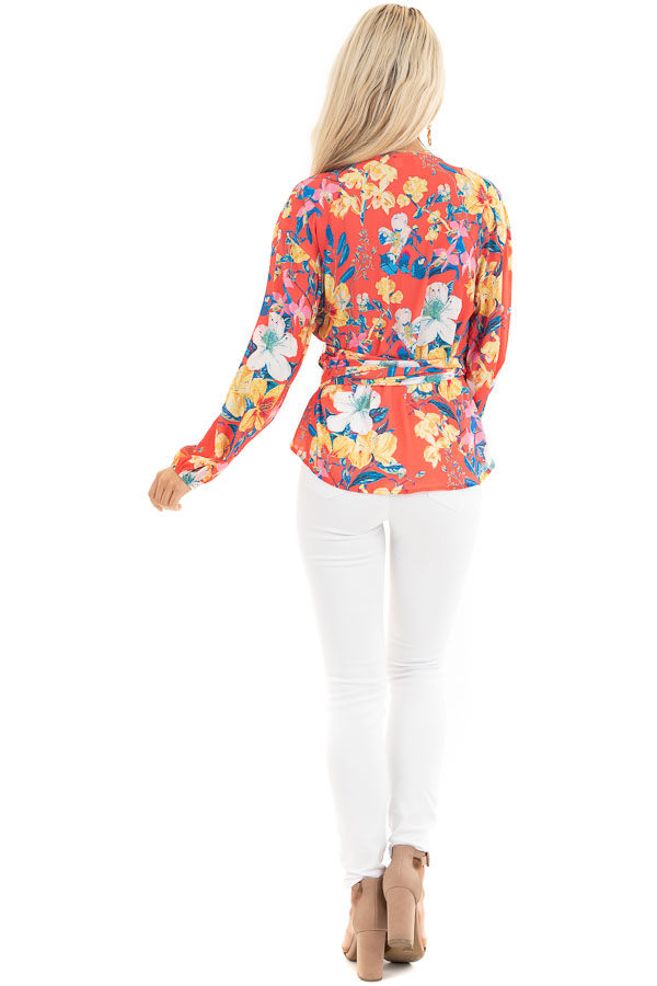 Bright Coral Floral Print Woven Wrap Top with Bubble Sleeves back full body