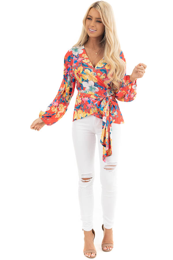 Bright Coral Floral Print Woven Wrap Top with Bubble Sleeves front full body