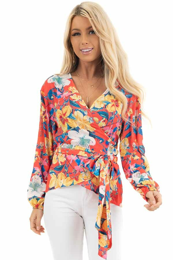 Bright Coral Floral Print Woven Wrap Top with Bubble Sleeves front close up