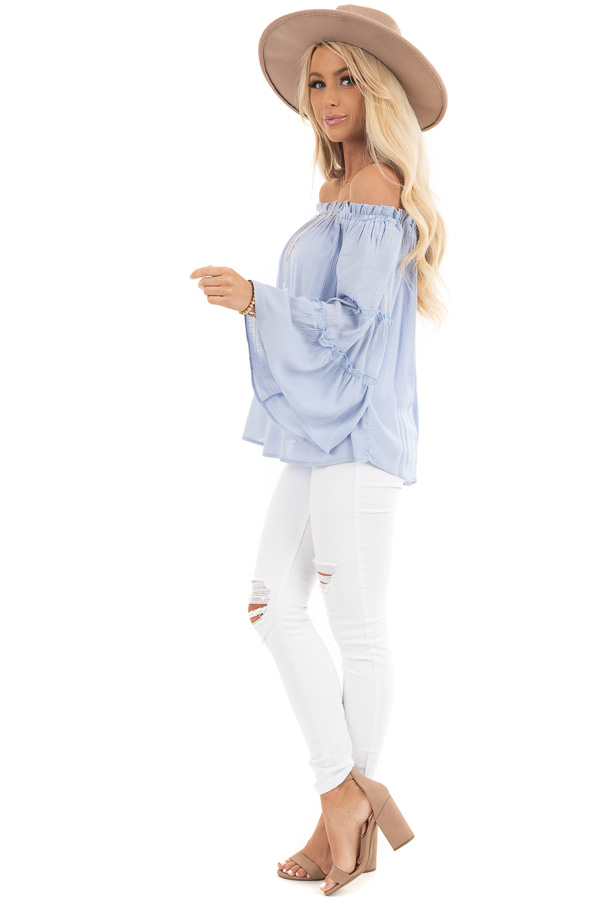 Baby Blue Off Shoulder Top with Tiered Bell Sleeves side full body