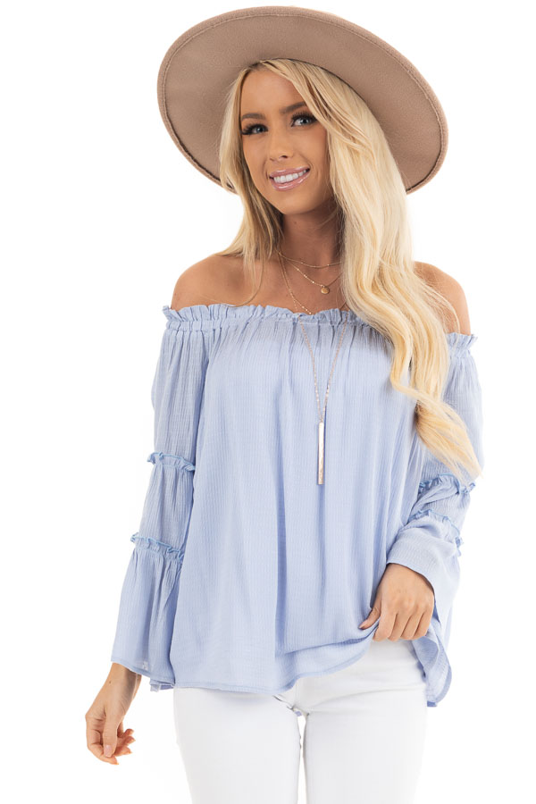 Baby Blue Off Shoulder Top with Tiered Bell Sleeves front close up