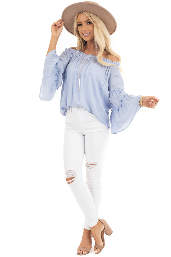 Baby Blue Off Shoulder Top with Tiered Bell Sleeves front full body