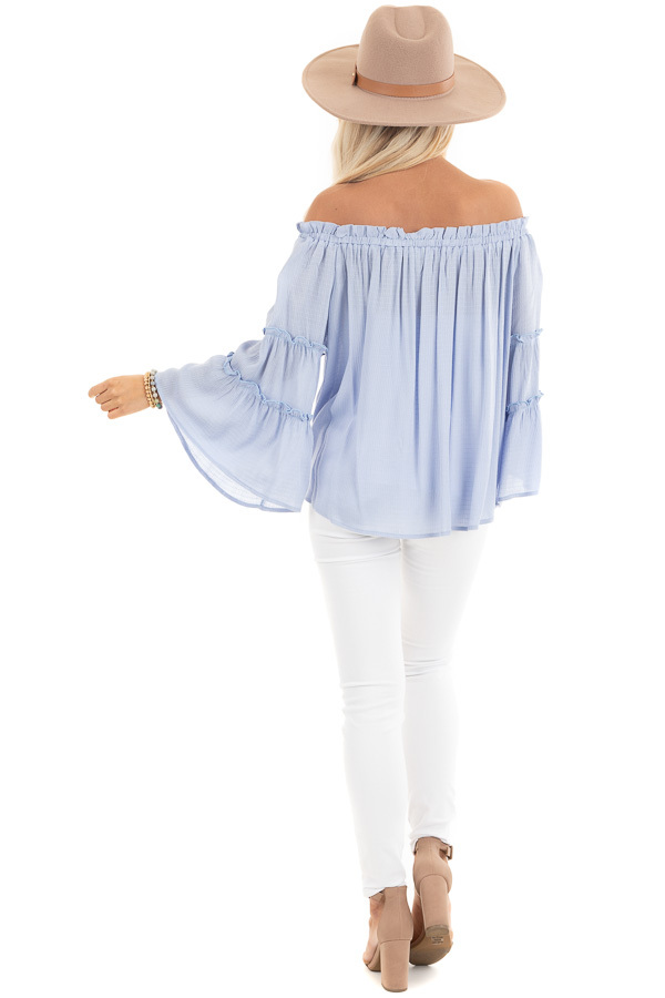 Baby Blue Off Shoulder Top with Tiered Bell Sleeves back full body