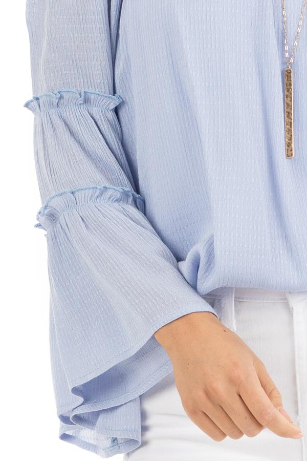 Baby Blue Off Shoulder Top with Tiered Bell Sleeves detail