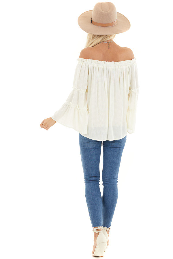 Ivory Off Shoulder Top with Tiered Bell Sleeves back full body