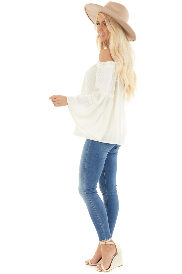 Ivory Off Shoulder Top with Tiered Bell Sleeves side full body